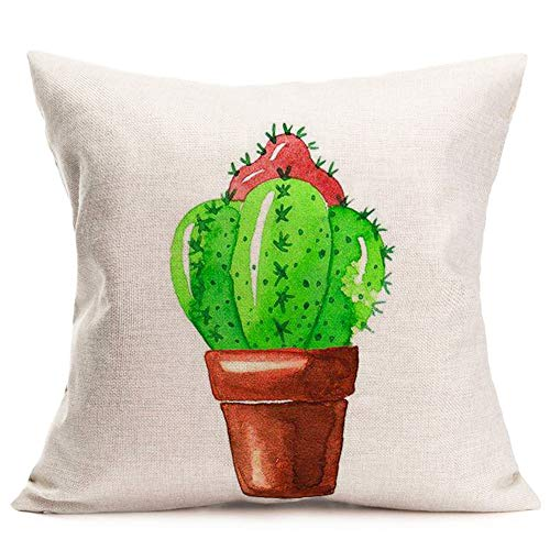 Hopyeer Kissenbezug, Kakteen Sukkulenten, Tropische Topfpflanzen, dekorativ, quadratisch, 45,7 x 45,7 cm Cactus-8 - Sprüche Kissenbezüge
