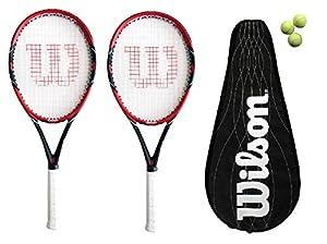2 x Wilson Federer Pro BLX 105 Carbon BLX Tennis Rackets + 3 Tennis Balls RRP £370 Review 2018