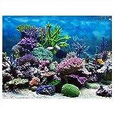 Fdit Póster de Fondo de Acuario con Fondo de PVC Adhesivo para decoración de arrecifes de Coral bajo el Agua, 61 * 30cm