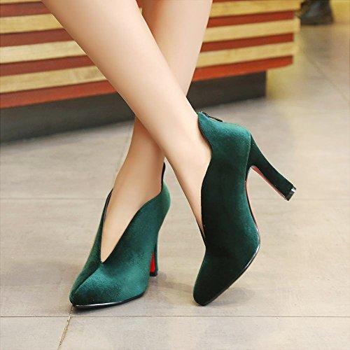 MissSaSa Donna Scarpe col Tacco Alto Pumps Piede Elegante Spicco Verde scuro