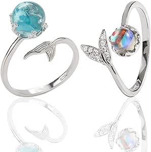 Anello della sirena - WENTS 2PCS Mermaid Tail strass blu Bubble finger apertura regolabile donne anello regalo per la indossano quotidiana e la Festa Colore Anello sorella Argento
