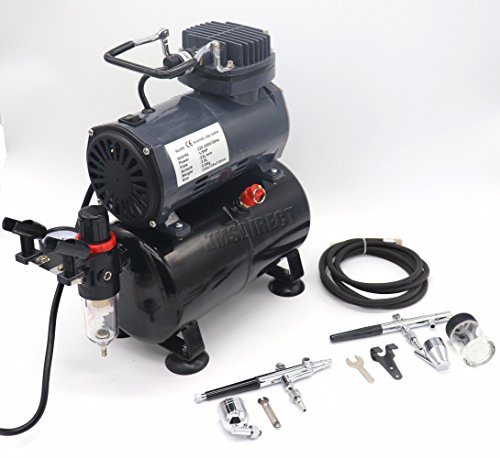 Airbrush Kit AS186 AS 186 with Compressor with Tank with 2 x Double Action Airbrushes and Hose