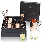Amazy Moscow Mule Geschenkset – 4er Set handgemachte Kupferbecher mit Barmaß, Barlöffel und 4 x Strohhalmen aus Kupfer für einen erfrischend-kühlen Trinkgenuss (Gerade | Glatt)