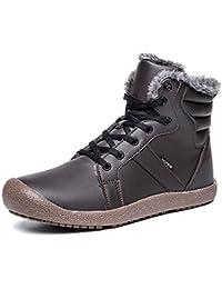 Mujer Hombre Botas Cuero Invierno Zapatos Calientes Forrados Botines Piel Impermeables Zapatillas Planas Cordones Nieve Tobillo Boots