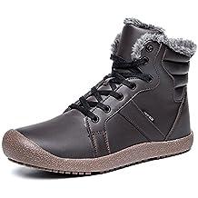 c85a779e1091 ukStore Herren Damen Winterschuhe Warm Gefüttert Winterstiefel Leder  Wasserdicht Schneestiefel Outdoor Winter Boots Schnür Kurz Stiefel
