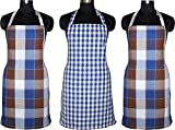 #2: Kuber Industries™ Cotton Waterproof Kitchen Apron With Front Pocket Set of 3 Pcs Assorted Colors (APC14)