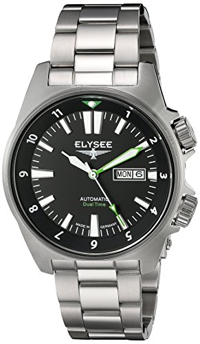 ELYSEE Made in Germany Dual Timer 87001 41mm Automatic Silver Steel Bracelet & Case Mineral Men's Watch