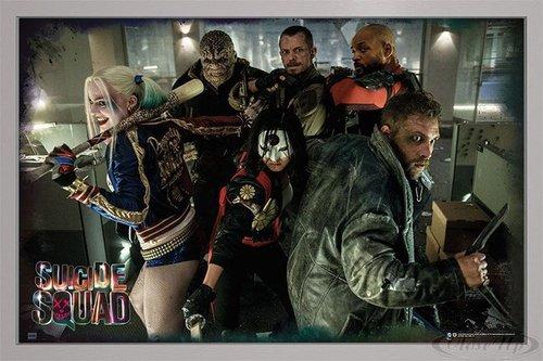 Suicide Squad Poster Team (96,5x66 cm) gerahmt in: Rahmen silber