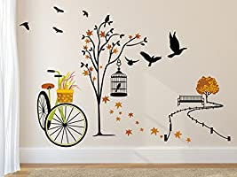 Solimo Wall Sticker for Living Room(Ride through Nature,  ideal size on wall: 140 cm x 100 cm)