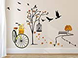 #9: Amazon Brand - Solimo Wall Sticker for Living Room(Ride through Nature,  ideal size on wall: 140 cm x 100 cm),Multicolour