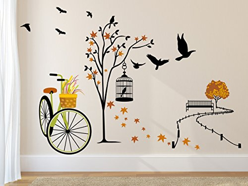 Amazon Brand - Solimo Wall Sticker for Living Room(Ride Through Nature, Ideal...