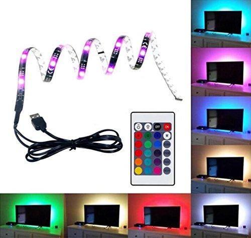 Emwel 1M 30 LED Streifen TV Hintergrundbeleuchtung LED Strip RGB 5050 USB Stimmungslicht LED Beleuchtung Für HDTV TV Licht mit 24 Key Remote Control