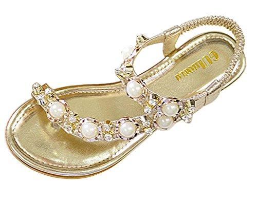 Minetom Femmes Été Perlé Plage De Bohême Pu Artificielle Talon Plat Chaussons Peep Toe Tongs Mode Des Sandales Or