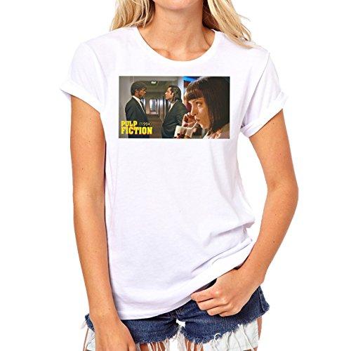 Pulp Fiction Ouentin Tarantino Movie Waiting Background Damen T-Shirt Weiß