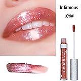 8 Farben Langlebige Matte Flüssigkeit Lipgloss,EUZeo Glitter Wasserdichte Lippenstift Lipgloss (F)