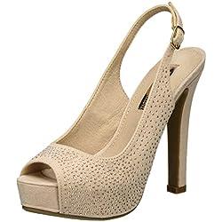 XTI Damen Nude Microfiber Ladies Shoes Peeptoe Pumps, Pink (Nude), 40 EU