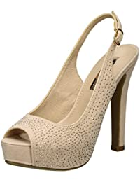 Xti Nude Microfiber Ladies Shoes ., Escarpins Bout ouvert femme