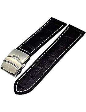 Uhrenarmband mit Faltschließe 20mm schwarz mit weisser Naht 3946