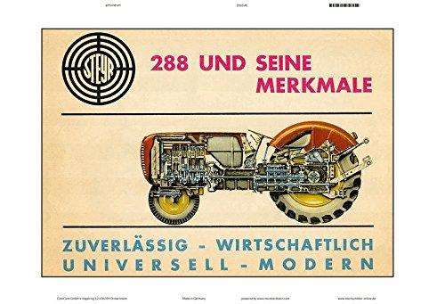 Blechschild 30 x 20 cm Traktor - Steyr Diesel Traktor Typ 288 - Deko7