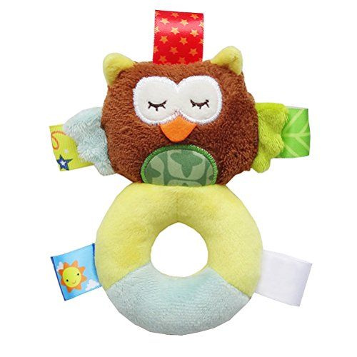 Yeahibaby Animal Baby Soft Plush Sonajero de mano Squeaker Developmental Educational Animal Sonajeros Juguetes de bebé para niños de 0-12 meses (Búho)