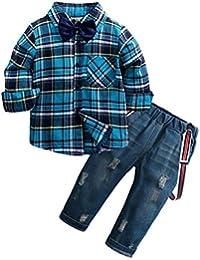 Mitlfuny Conjunto de 2 Piezas Cuadros Blusas + Jeans Ropa de Bebé Camisetas de Manga Larga Niñas Niños Solapa Botón Camisas Tops Tirantes Vaquero Pantalones Primavera Otoño Trajes Niño 1-6 Años