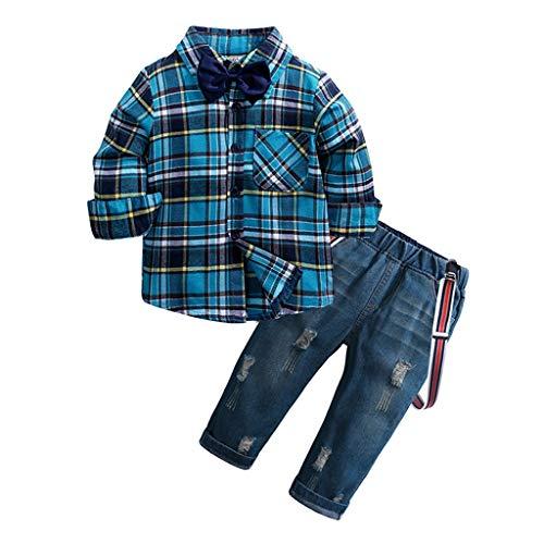 Yazidan Kinder Jungen Bekleidung Sakkos Anzüge Kariertes Langen Ärmeln Hemd Hochzeit Party Langarm Kariertes Shirt Tops + Jeans Set \\n