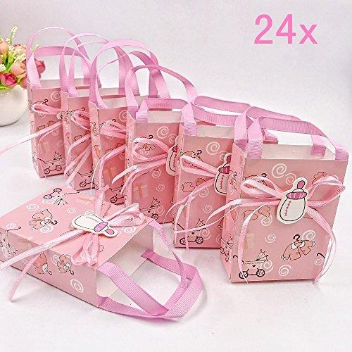 JZK 24 Rosa Gastgeschenk Süßigkeiten Schachtel mit Babyflasche Muster für Baby Mädchen Geburtstag Taufe Neugeborenen Babyparty Baby Shower Kinder Party