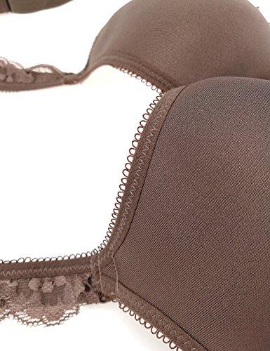 Bright Deer Donne minimizer reggiseno serie soft sottile copertura completa spingere senza soluzione di continuit¨¤ regolare lace dettagli a mio agio ogni giorno lingerie presenta grandi c d e tazze Marrone