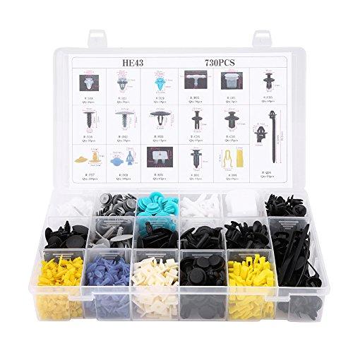 Remachadora universal HE43 de 17 tamaños, 730 piezas, remaches de tipo empuje, remaches de empuje, abrazadera fija, remaches de plástico para coche, surtido de remaches de remaches