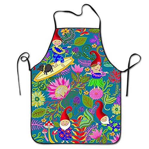HiExotic Eco-Friendly Hawaiian Garden Gnomes Adjustable Bib Apron Waterdrop Resistant Cooking Kitchen Aprons for Women Men Chef Lady Blue Garden Gnome