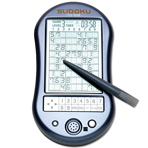Bits and Pieces - Deluxe Sudoku Handheld Game - Electronic Pocket Size Sudoku Game, LED Screen, Great Gift - Measures 2-3/4 wide x 4-3/4 long x 3/4 deep by Bits and Pieces