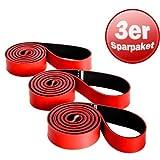 3er Pack Deuserband Trainingsband rot schwarz Expander Gymnastikband Sparpaket