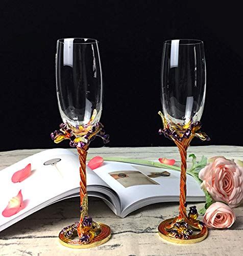 ZXMXY Champagner-Glasses Iris Carved Wine Cup Enamel Retro Classic Crystal Cups Home Geschenkartikel (2 Stücke),Yellow Iris Wine Glass