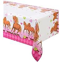 """Tischdecke Motiv """"Pferde und Herzen"""" rosa Kindergeburtstag"""