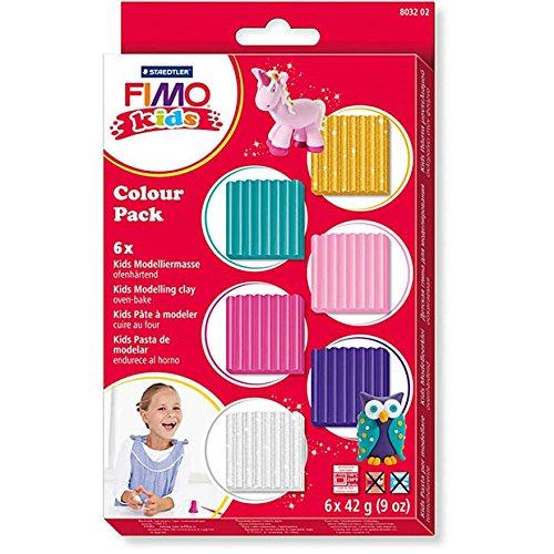 Staedtler 8032 02 Modelliermasse Fimo kids ofenhärtend, Materialpackung Girlie, attraktive, trendige Farbauswahl für Mädchen, hohe Qualität, mit 6 Blöcken á 42 Gramm (Geschenk Für Besondere Bedürfnisse Kind)