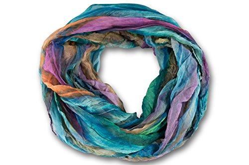 fashionchimp ® Loop Schlauchschal für Damen mit Feder-Muster in Batik Style, Crash and Crinkle, Seide (Türkis-Bunt) -