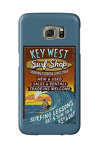 Key West, Florida - Surf Shop Vintage Sign (Galaxy S6 Cell Phone Case, Slim Barely There)