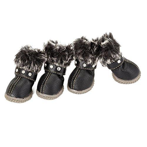 SOOKi Hund Stiefel wasserdichte Schuhe Warmer Schnee Für Kleine Hunde Chihuahua rutschfeste Hausschuhe Outdoor Supply Waren Sneakers Paw Protectors 4PCS,Black,S