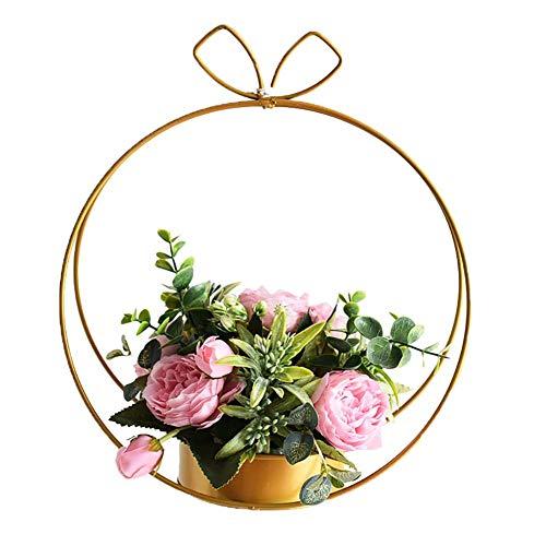 Gold-topf (BovoYa 1 Stück Hängende Blumentopf Halter Schmiedeeisen Blumen Stand Grünpflanze-fleischige hängende Blumen-Topf-Inneneinrichtung Gold)