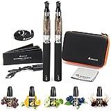 Salcar® Cigarrillo electrónico eGo-T CE4 con doble kit de iniciación, batería recargable de 1100mAh, Vaporizador de 1,6ml + 5x 10ml set E-Líquido, 0,00 mg Nicotina (2x nergo)