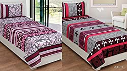 Single Bedsheet - 100% Pure Summercool Fine Quality Ahmedabad Cotton Combo of 2 Single Bedsheet With 2 Pillow Cover