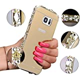 Bing Strass Etui Samsung Galaxy S7 Edge Miroir Coque,MingKun Anti-rayures et Shock-absorption Cadre Metal Bumper Case Cover pour Samsung Galaxy S7 Edge Bling Hard PC Plastique Ultra Thin Ultra Mince Couvrir Shell Téléphone Accessories de Protection Protecteurs Bumper Couverture -Design 2 (Or)