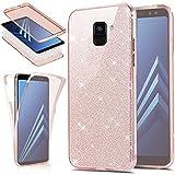 EINFFHO Galaxy A8 2018 Hülle, 360 Full-Body Vorne+Hinten Rundum Schutz Tasche Etui Kristall Klar Glänzend Glitzer Durchsichtig Silikon Hülle Schutzhülle für Samsung Galaxy A8 2018 (Rose Gold)