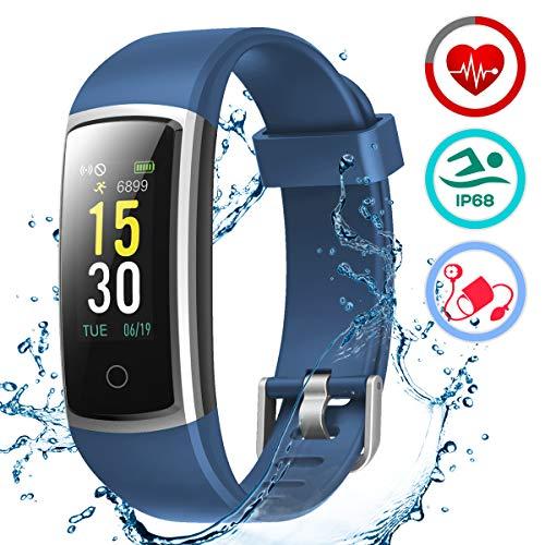 LATEC Fitness Armband mit Pulsmesser, IP68 Wasserdicht Fitness Trackers Farbbildschirm Aktivitätstracker Fitness Uhr Smartwatch Pulsuhren Blutdrucküberwachung Schlafmonitor Schrittzähler Anruf SNS SMS