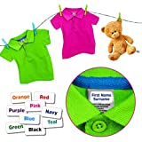 Stick-a-Tag Name Labels for Clothes - No Need to Iron On or Sew In - Peel and Stick On Wash Care Label of Children's School Uniform / Clothing Personalised Printed Name Labels for Kids 25mm x 13mm (20)