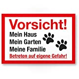 Vorsicht Hund Mein Haus, Garten, Familie - Hunde Kunststoff Schild, Hinweisschild Grundstück mehrsprachig Shepherd - Türschild Haustüre, Warnschild/Einbruchschutz - Achtung Hund