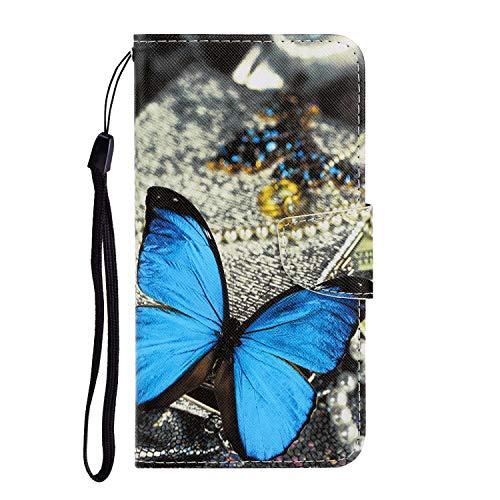 Nadoli Galaxy A40 Hülle,Schmetterling Muster PU Leder Magnetisch Flip Brieftasche mit Handschlaufe Kartenslot Ständer Klapphülle für Samsung Galaxy A40