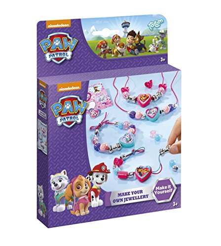 Paw Patrol Schmuck-Set basteln mit 3 farbigen Bändern, Motivperlen, Perlen in Herzform, Metallperlen in Knochenform, silbernen Perlen, Motiv-Sticker - TM Essentials 720091