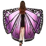 Overdose Frauen 197*125CM Weiche Gewebe Schmetterlings Flügel Schal feenhafte Damen Nymphe Pixie Kostüm Zusatz Faschingskostüme Erwachsene(197*125CM, B-Lila(168*135CM))