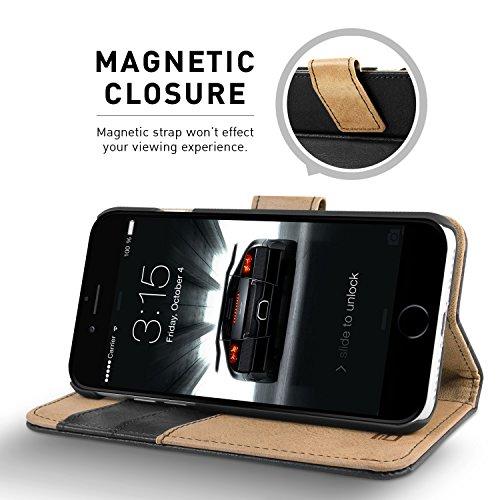 Cover iPhone 7, BEZ® Cover protettiva portafoglio in pelle con porta carta di credito, Kick Stand, borsellino, chiusura magnetica, Flip Case Cover Per iPhone 7 - Blu navy Nero